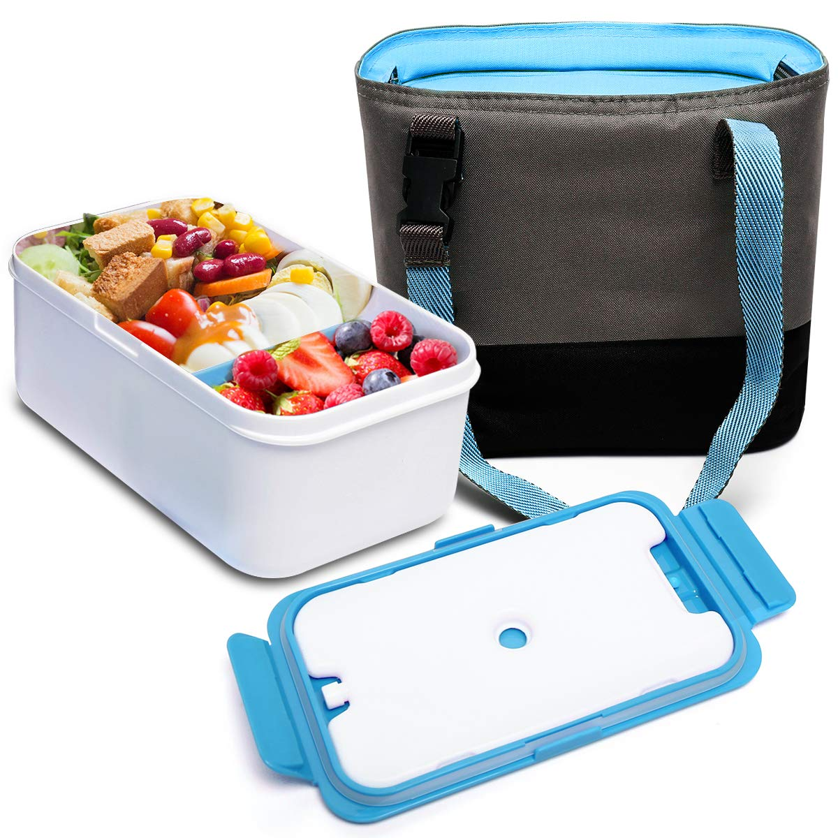 BOQUN 1400ML Bento Box Lunch Container, Reusable Divided Meal Carrier with Removable Ice Packs,BPA-Free, Microwave/Dishwasher Safe (blue)