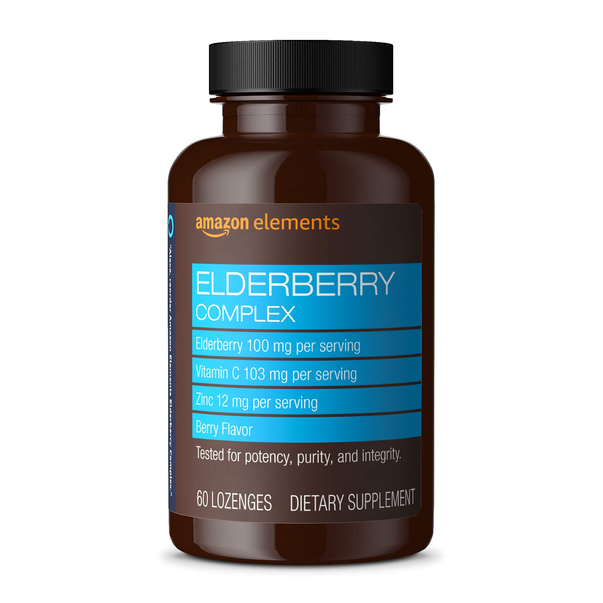 Amazon Elements Elderberry Complex, Immune System Support, 60 Berry Flavored Lozenges, Elderberry 100mg, Vitamin C 103mg, Zinc 12mg per Serving (Packaging may vary)