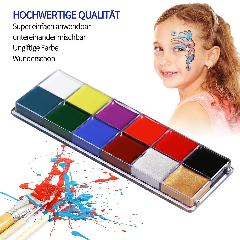 Xpassion Peinture de Visage Maquillage Enfants - Palette de Maquillage de 12 Couleurs - Ensemble de Maquillage pour Enfants de Haute qualité, idéal pour Les fêtes