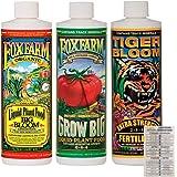 FoxFarm Liquid Nutrient Trio Soil Formula: Big Bloom, Grow Big, Tiger Bloom (Pack of 3-16 oz Bottles) 1 Pint Each + Twin…