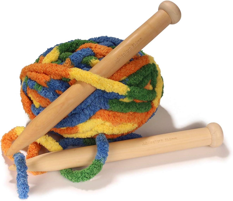 30mm Dia Jumbo Large Wooden Knitting Needles for Super Chunky Bulky Yarn Knitting 15.5-1 Pair