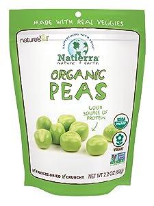 NATIERRA Nature's All Foods Organic Freeze-Dried Peas | Non-GMO & Vegan | 2.2 Ounce