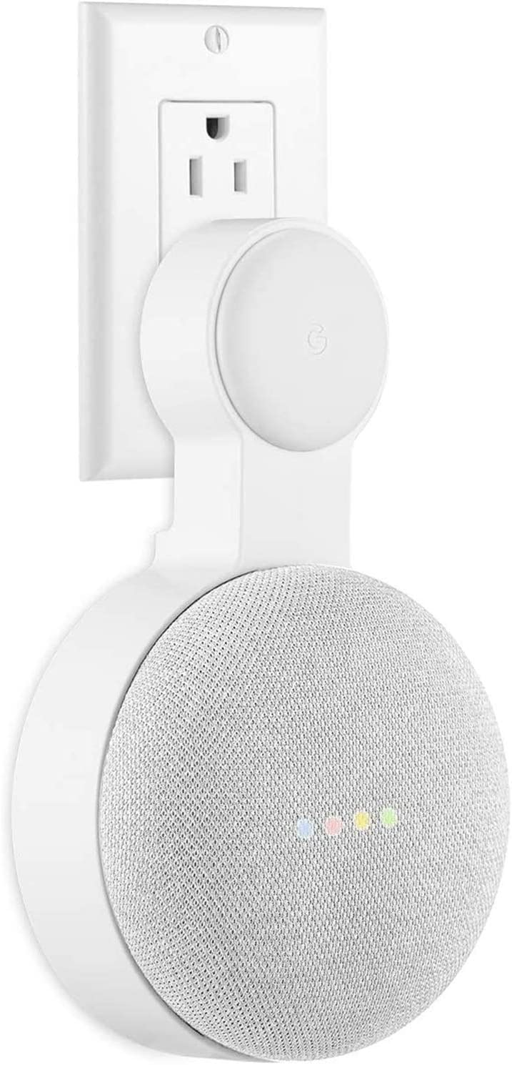 Google Nest Mini Wall Mount Holder, Caremoo Space-Saving Design Outlet Mount, Perfect Cord Management for Google Nest Mini 2nd Generation (White)