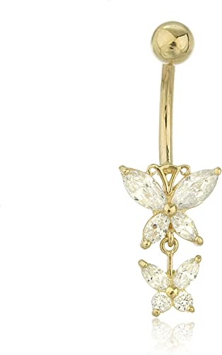 Gold Tone Origami Cat Belly Button Ring