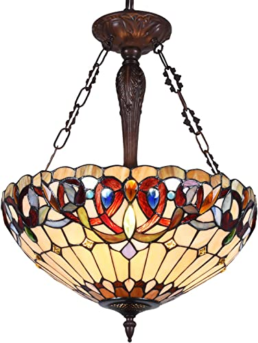 Capulina Tiffany Dining Table Lights, 3-Light Hanging Tiffany Style Lamp, 18 Inch Wide Stained Glass Dining Room Lights, Pendant Lights, Victorian Tiffany Hanging Light