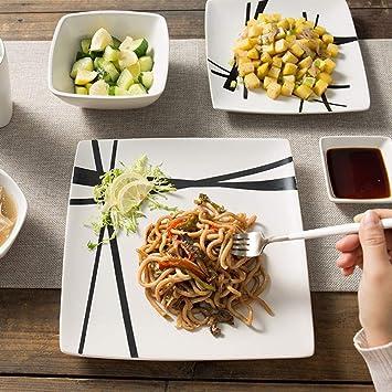 Cubiertos set Vajilla europeo simple personalidad Japonesa y coreana vajilla de cerámica casa occidental platos de cerámica vajilla seis conjuntos: ...