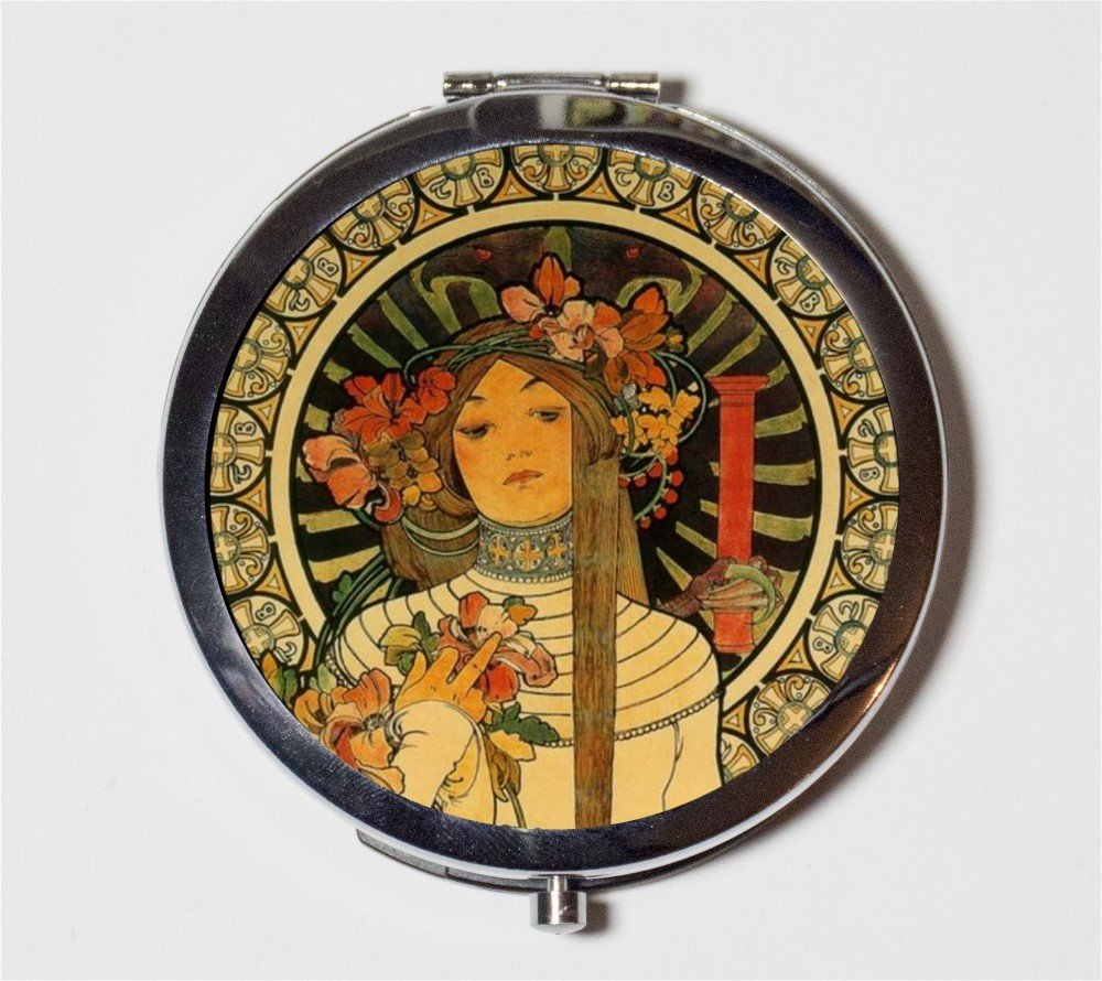 Alphonse Mucha Compact Mirror Art Nouveau Boho Gypsy Edwardian Floral Pocket Size for Makeup Cosmetics