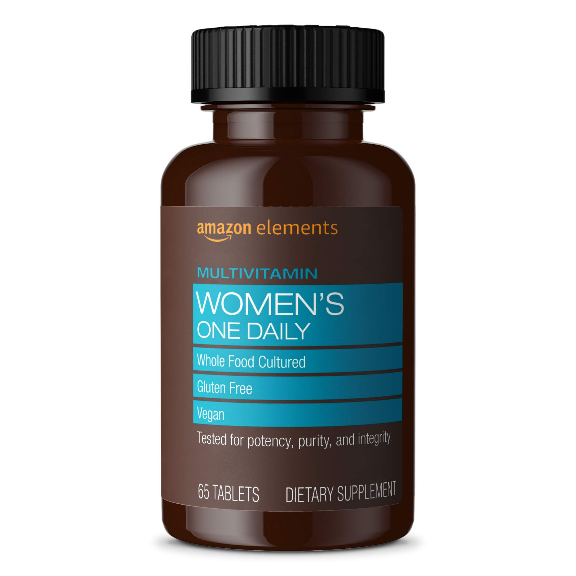Amazon Elements Women's One Daily Multivitamin, 59% Whole Food Cultured, Vegan, 65 Tablets, 2 month supply (Packaging may vary)