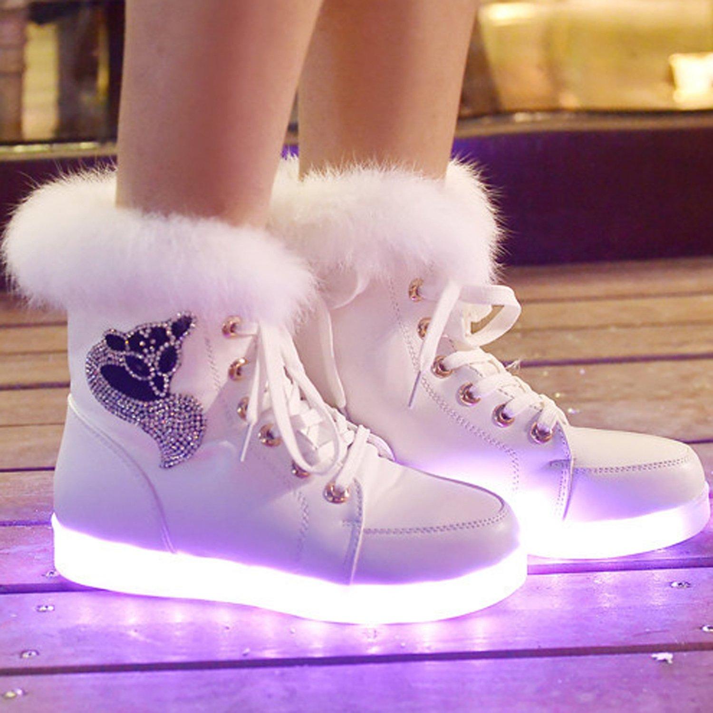 Oasap Women's Fox Rhinestone Light Up LED Luminous Boots, White  EURO36/US5.5/UK3.5: Amazon.co.uk: Shoes & Bags