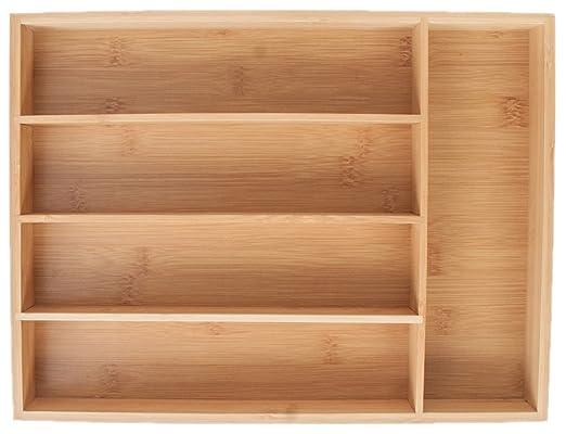 2 opinioni per KD Organizers Portaposate da cassetto a 5 scomparti in bambù: Portaoggetti