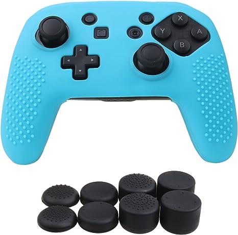 YoRHa Tachonado silicona caso piel Fundas protectores cubierta para Nintendo Switch Pro Mando x 1 (azul) Con PRO los puños pulgar thumb gripsx 8: Amazon.es: Videojuegos
