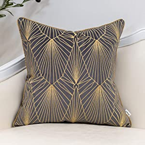 Yangest Dark Grey and Gold Gradient Velvet Throw Pillow Cover Geometric Lines Cushion Case Modern Luxury Embroidery Pillowcase for Sofa Couch Bedroom Living Room Home Decor,18x18 Inch