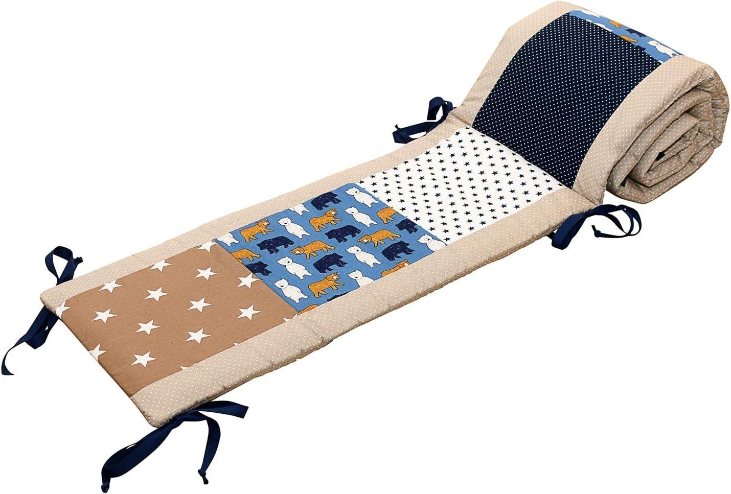Protector de cuna de ULLENBOOM /® con beige oso protector de cuna de 180/x/30 cm; chichonera para cunas de 120/x/60 cm; zona de la cabeza