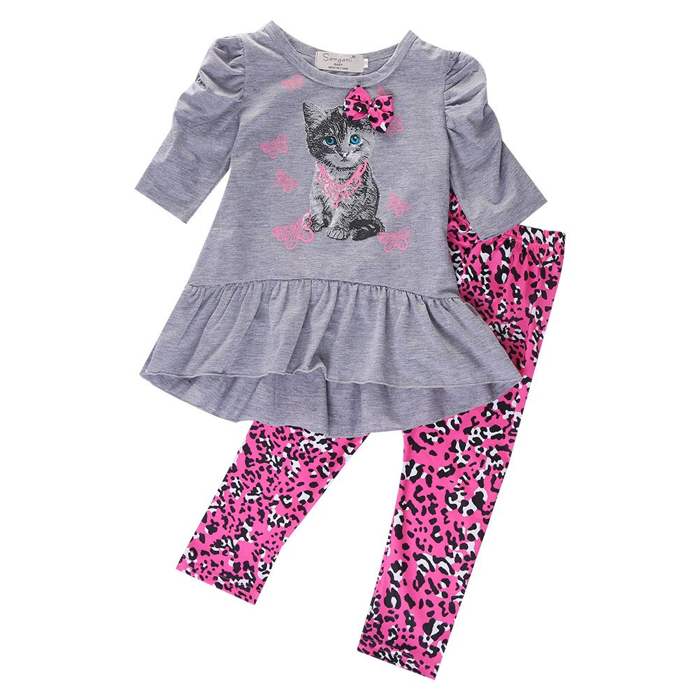 2pcs Little Girls Cat Top Shirt + Leggings Pants Outfit Casual Cartoon Clothing