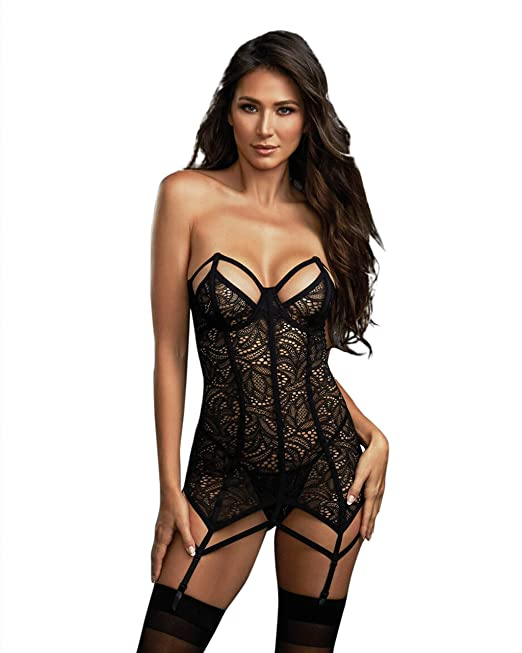 a4db1c978d7 DreamGirl Womens Lace Garter Slip with Architectural Detailing and Thong  Set Lingerie Set  Amazon.ca  Clothing   Accessories