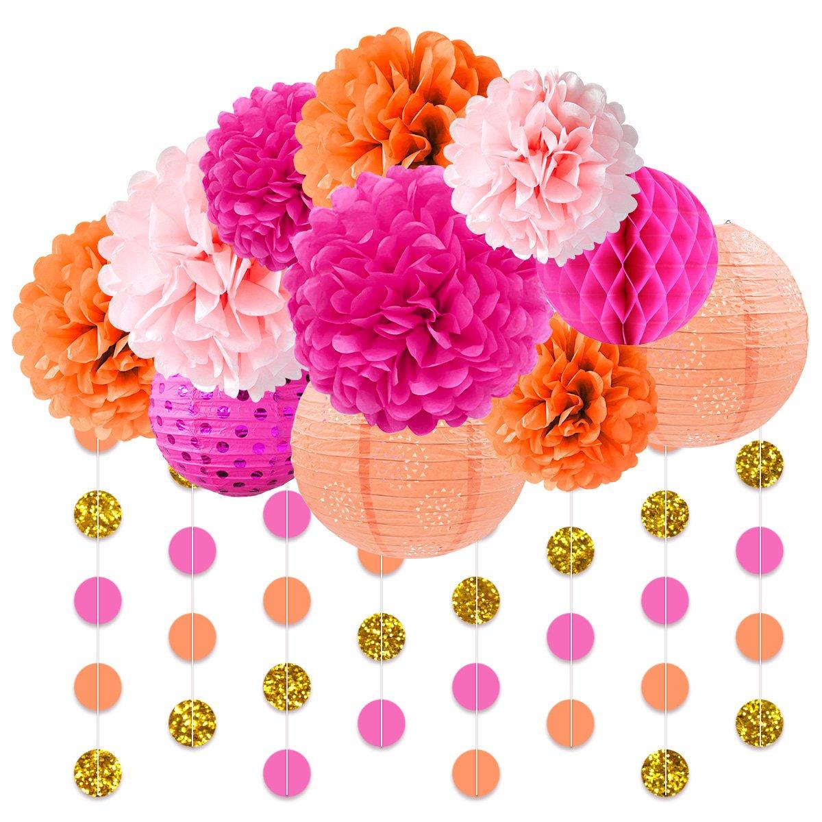NICROLANDEE Pink and Orange Birthday Party Decoration Pack Paper Lanterns Tissue Flower Poms Gold Glitter Garland for Flamingo Bachelorette Birthday Baby Shower Thanksgiving Fiesta Festival Decor