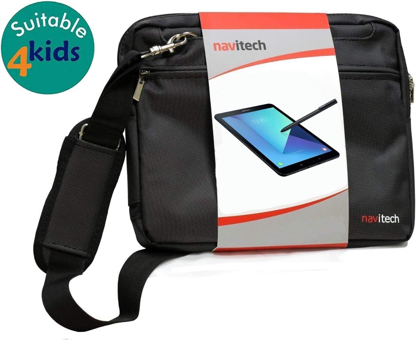 Navitech Black Sleek Premium Water Resistant Shock Absorbent Messenger Bag Compatible with The 3D Hero LCD Writing Tablet for Kids 9 Inch