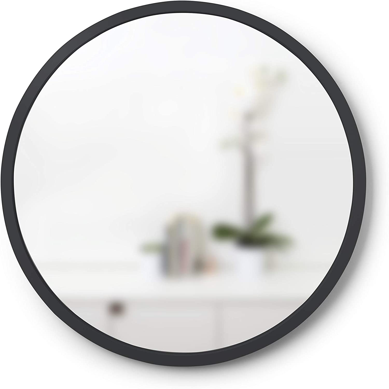 Umbra Hub Rubber Frame-18-Inch Round Mirror for Entryways, Bathrooms, Living Rooms and More, 18-Inch, Black