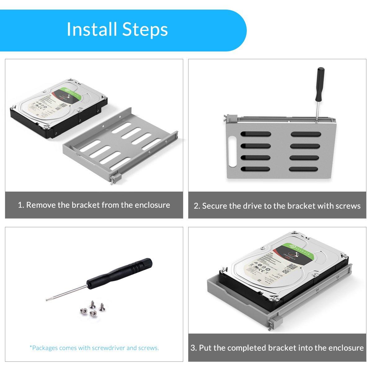 Yottamaster Aluminum Alloy 5 Bay 3.5 Inch USB3.1 Gen1 Type-C RAID External HDD Enclosure SATA3.0 Support 5x10TB & UASP -Silver by Yottamaster (Image #6)