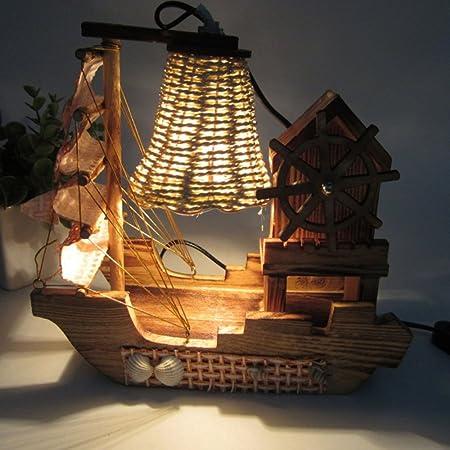 Wofeide Lámpara De Mesa Creativa Casa De Madera Molino De Viento ...