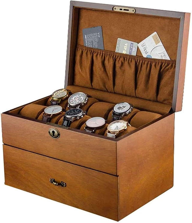 MQJ Fraxinus Mandshurica de Madera Mandshurica Reloj de Doble Capa Reloj de Joyería Colección de Joyería Acabado Caja de Exhibición Organizadores Mire la Caja de Exhibición de Alta Capacidad,sin Vent