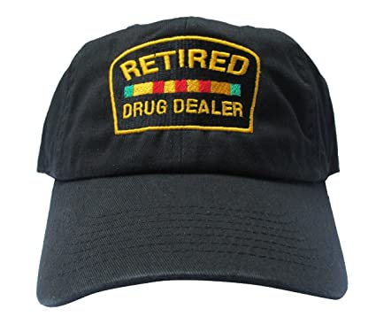 7642233b271 Image Unavailable. Image not available for. Color  Rob sTees Retired Drug  Dealer Black Meme Unstructured Twill Cotton Low Profile Dad Hat Cap