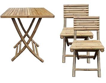 Amazon De Bambus Garten Balkon Mobel Set 1x Klapptisch 2x Klappstuhl