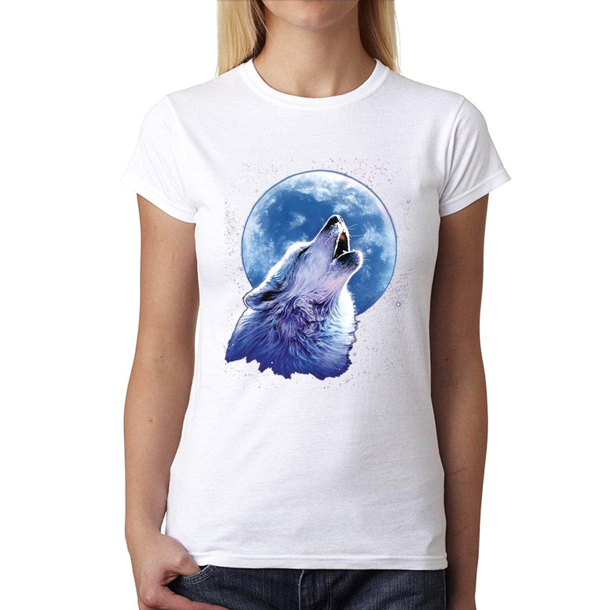 avocadoWEAR Lupo Che Ulula Luna Mezzanotte Donna T-Shirt XS-3XL