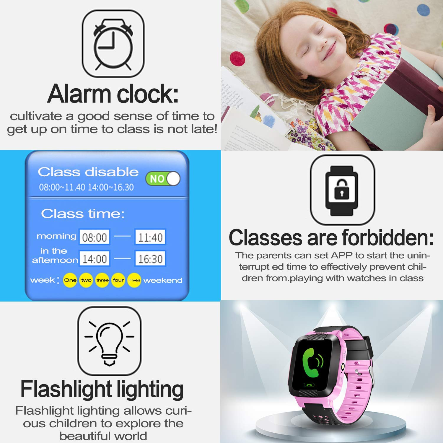 Enow-YL Kids Smart Watch, LBS Tracker for 3-12 Year Old Boys Girls with SOS Call Camera Flashlight Alarm Activity 1.44\'\' Touch Screen SIM Card Slot Electronic Smartwatch for Android/iOS (Pink)