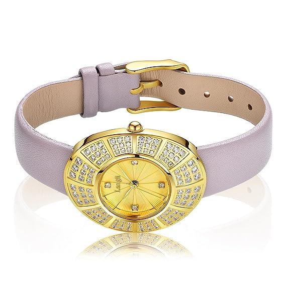 Langii mujeres muñeca joyas relojes amarillo chapado en oro 108pcs piedras con correa de piel yg1706l
