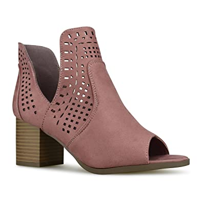 Premier Standard Women's Perforated Cut Out Heeled Bootie - Faux Leather Pull On Boot - Women's Mid Heel Shoe   Ankle & Bootie