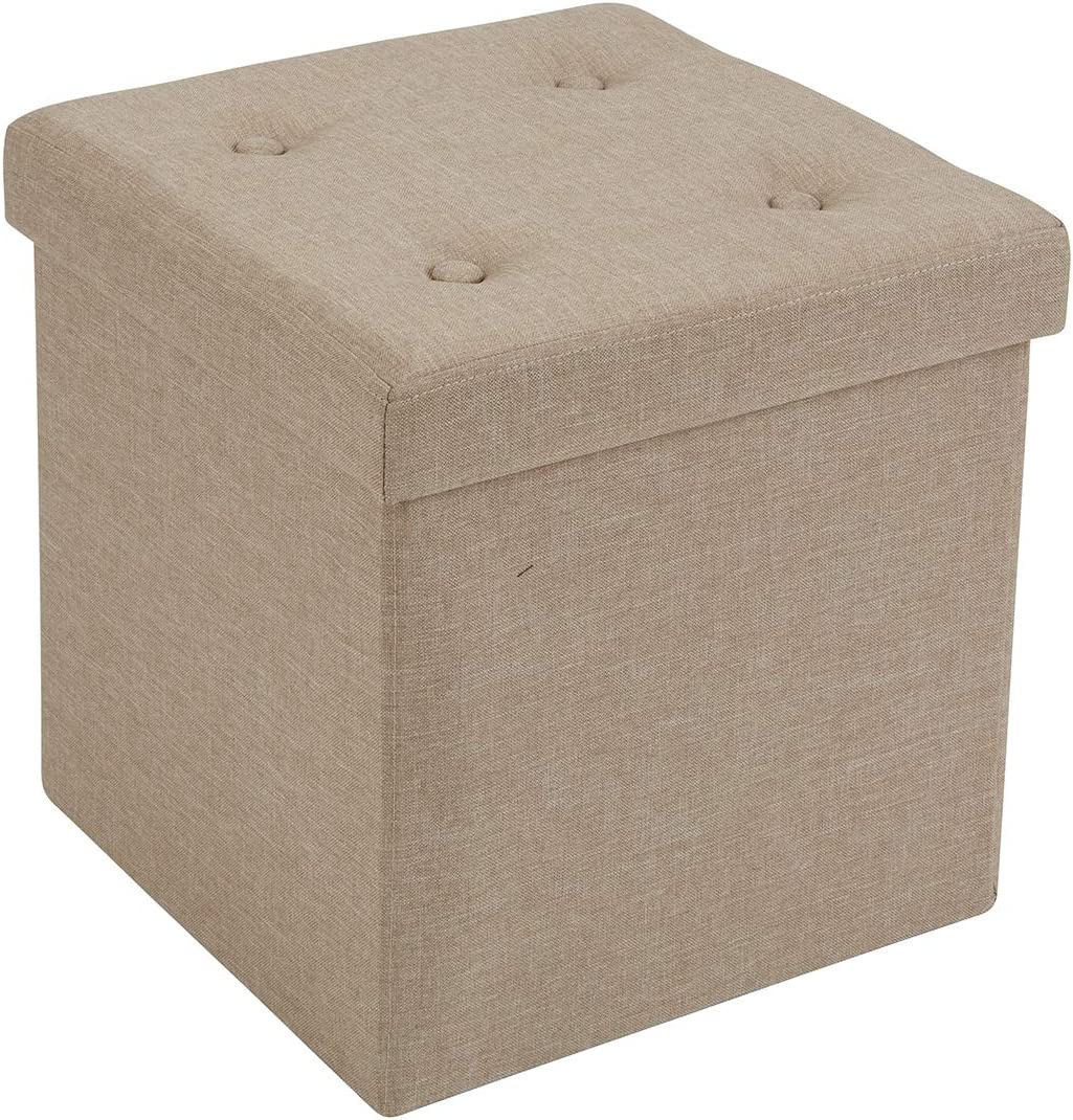 """Fresh Home Elements FHE 15"""" Tufted Folding Storage Ottoman Cube, 15 x 15 x 15, Beautiful Taupe Linen Fabric, Easy Transformation for Extra Storage, Seating, and Foot Rest, Family, Guests, Decluttering"""