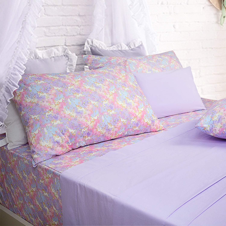 Brandream Unicorn Bedding Sets Full Size Girls Unicorn Sheets 100% Cotton Bed Sheet Set Deep Pockets Pink Lavender Pastel Sheets(1 Top Sheet + 1 Fitted Sheet + 2 Pillowcases)