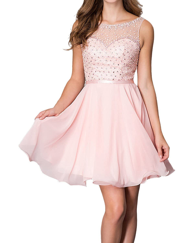 VogueDress 2016 Bateau Princess Chiffon Homecoming Dresses
