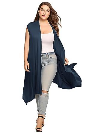 9f7e7689a Zeagoo Womens Plus Size Lightweight Sleeveless Draped Open Cardigan Vest  Black,Navy Blue,16