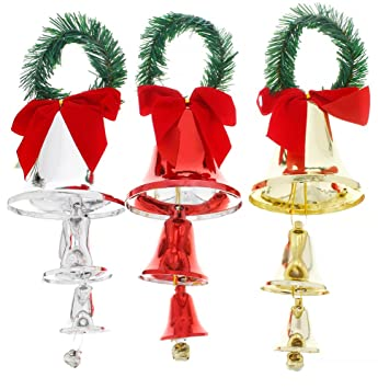 holiday christmas elegant classic door knob hanger bell decorations red gold silver