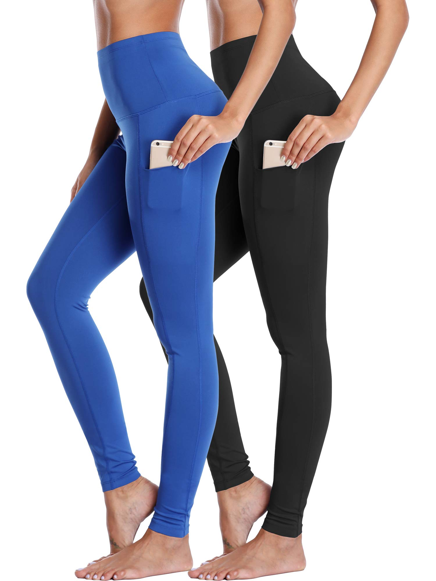 Neleus Women's 2 Pack Yoga Leggings Tummy Control Workout Yoga Pant,103,Black,Blue,L by Neleus