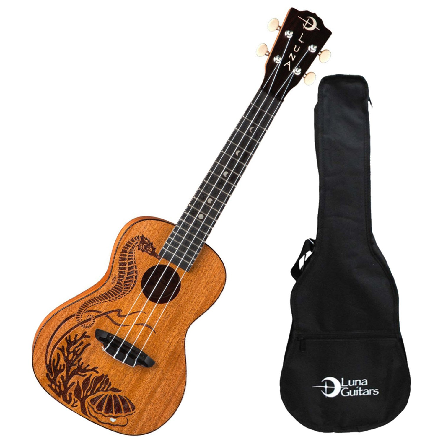 Luna UKEPEARL Seahorse Etched Pearl Inlay Concert Body Ukulele, Rosewood Fingerboard with Gig Bag, Satin by Luna Guitars