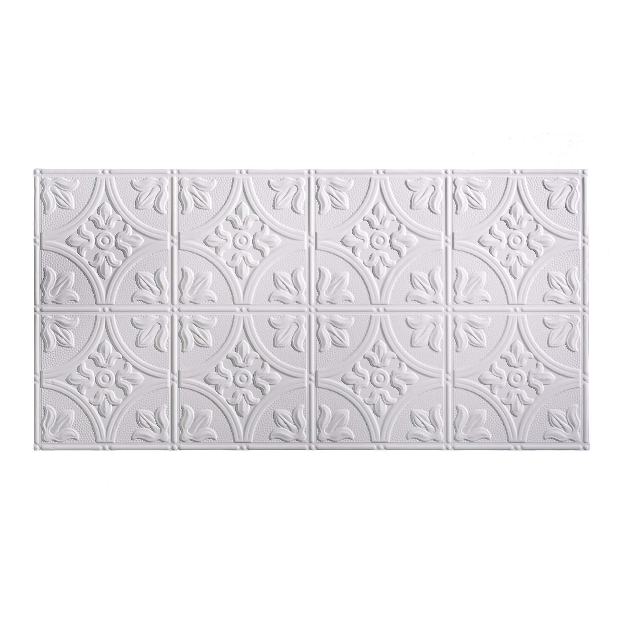 Fasade Easy Installation Traditional 2 Matte White Glue Up Ceiling Tile/Ceiling Panel (2' x 4' Panel)