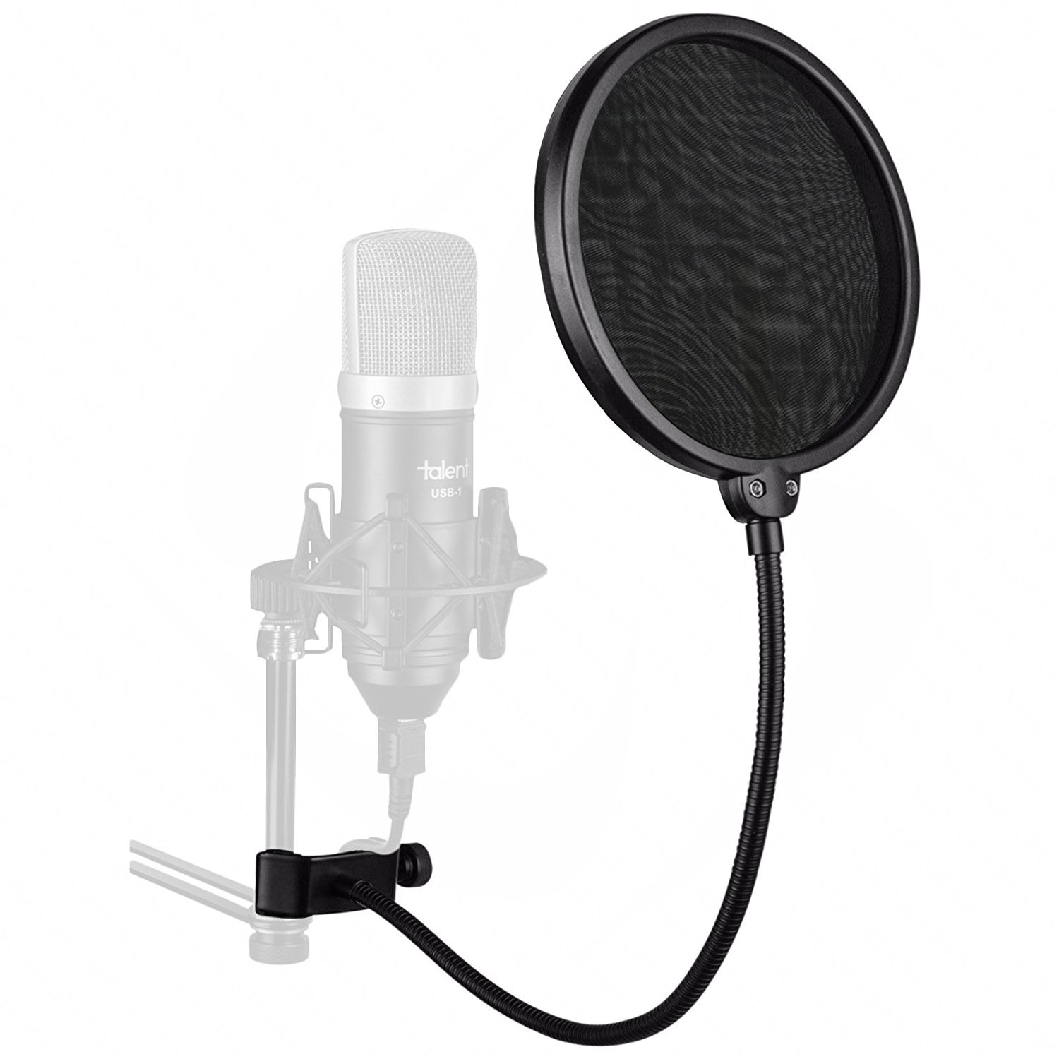 Juarez Pf-100 6-Inch Studio Microphone Pop Filter Shield Mask, Double Mesh Wind Screen With 360° Flexible Gooseneck And Quick Mount Or Release Clamp product image
