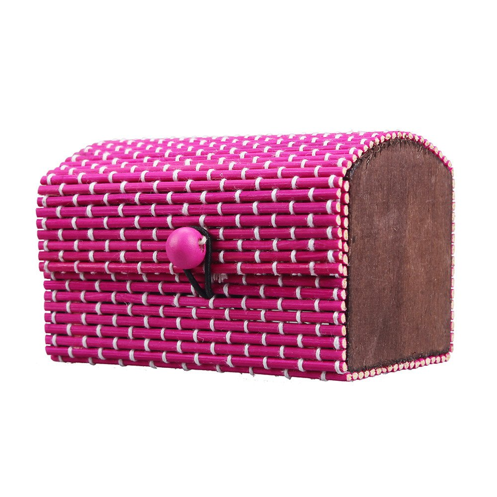 Lanhui Ring Necklace Earrings Bamboo Wooden Jewelry Storage Boxes Gift (About 95.55.5cm/3.52.22.2inch, Hot Pink)