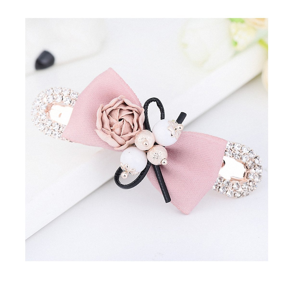 Womens Barrettes Pearl Flower Bowknot Hair Accessories Hair Clips Jewelry Womens Fashion Metal Alloy Hair Pin Headwear Pink
