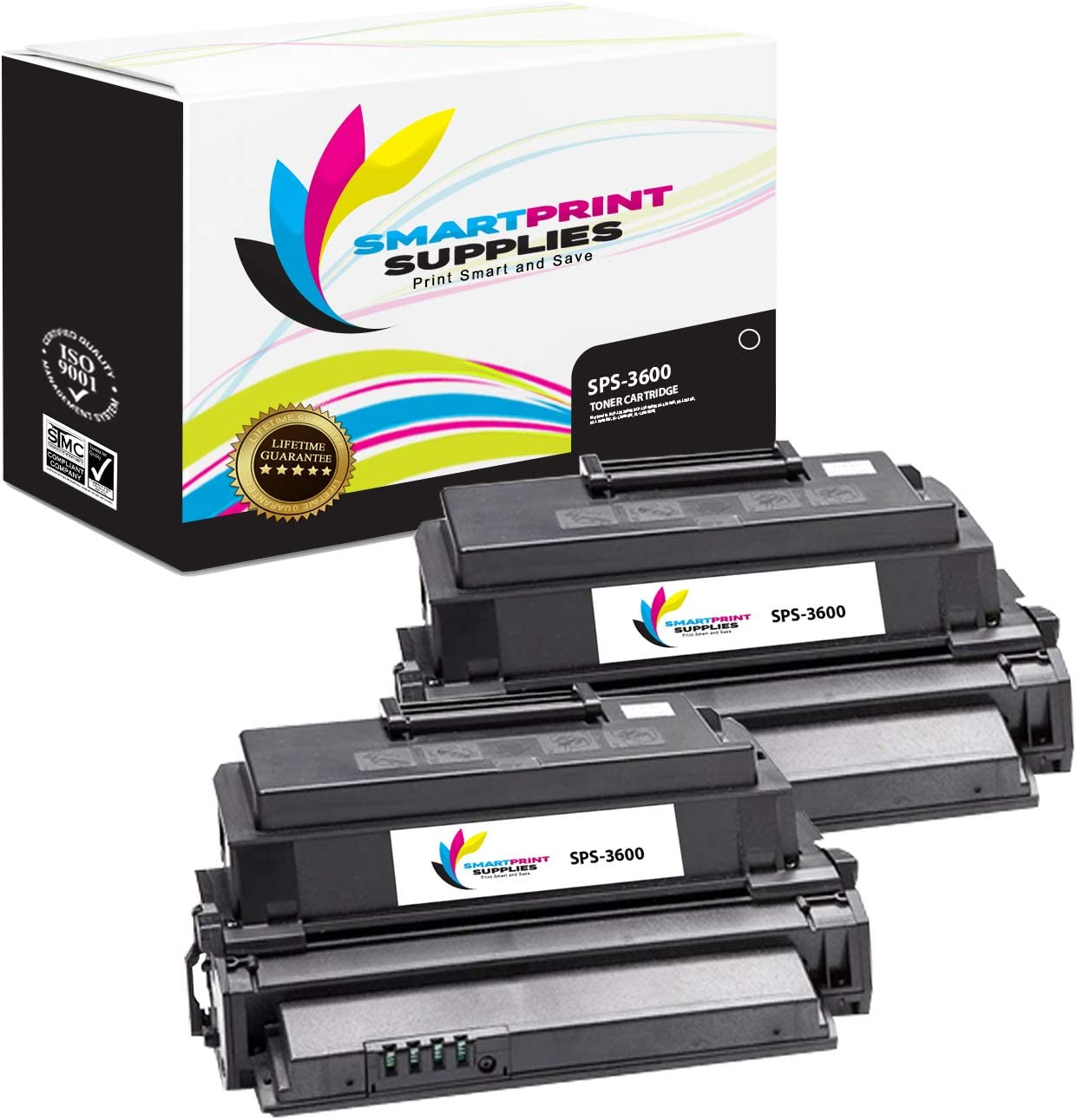 2 Pack Smart Print Supplies Compatible 106R01371 Black High Yield Toner Cartridge Replacement for Xerox Phaser 3600 Printers 14,000 Pages