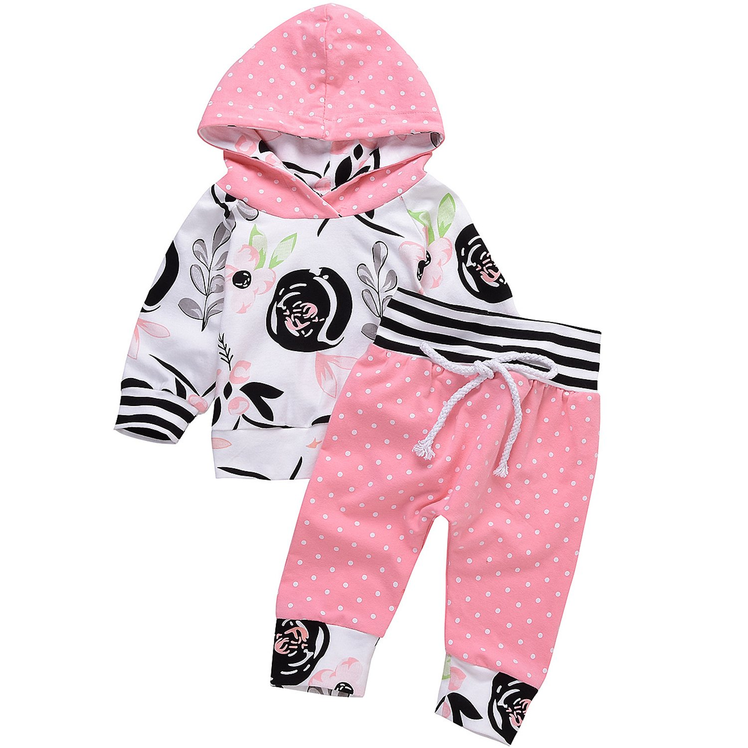 Baby Girls Sweatshirt Sets Floral Hoodie Tops Pants Sweatsuits Pocket Jogger Outfit Xiangwu