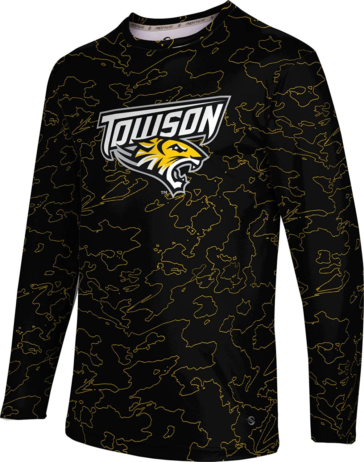ProSphere Towson University Mens Long Sleeve Tee Topography