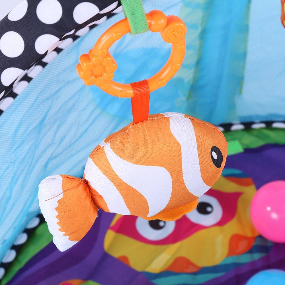 Cocoarm Schildkr/öte Erlebnisdecke B/ällebad Krabbeldecke Spielbogen Spieldecke Lernmatte f/ür Babys mit weichem Spielbogen Activity Decke mit 4 Abnehmbaren Spielzeugen 30 Bunte Kugeln