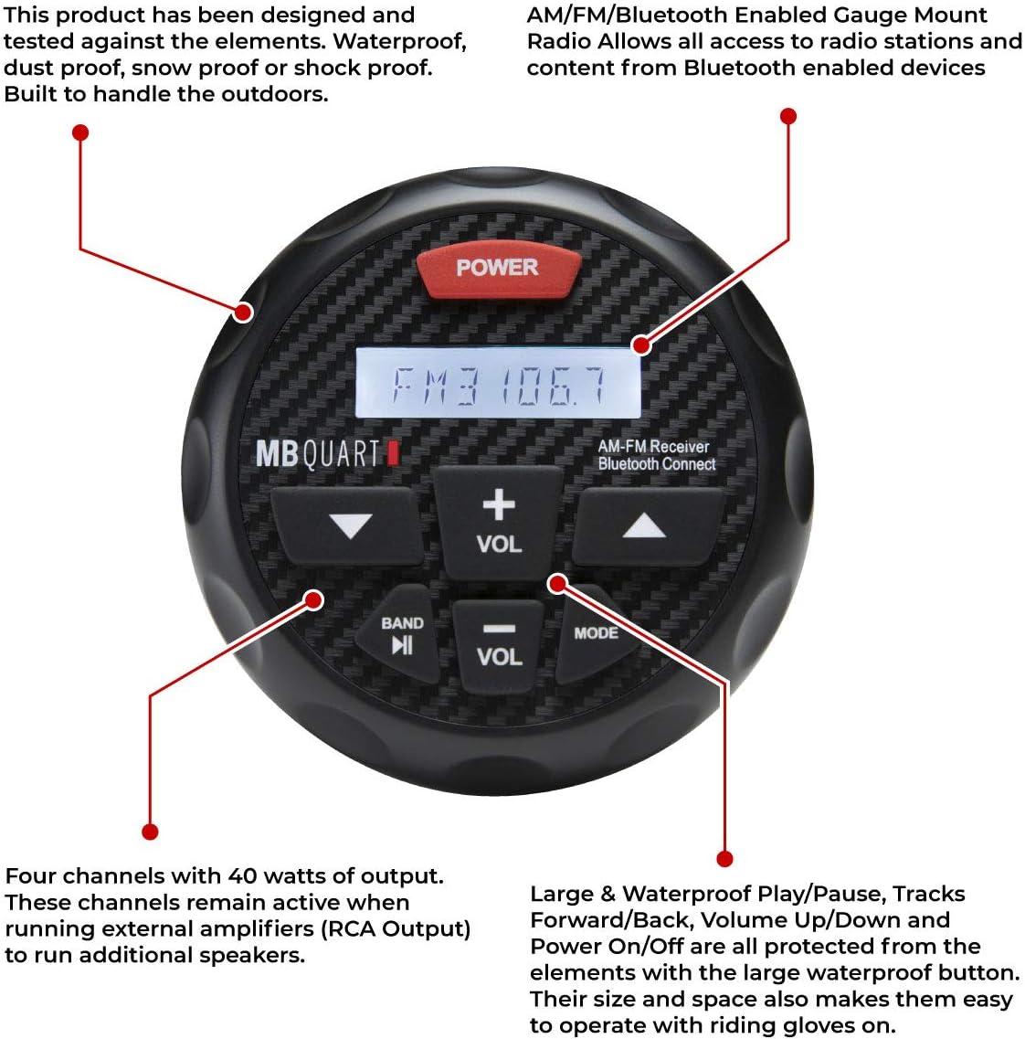 Radio Rockville RGHR2 Marine Gauge Hole Receiver w Bluetooth USB Wired Rem...