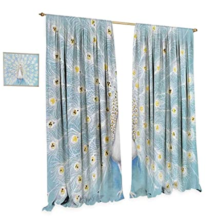 Amazon Com Peacock Decor Window Curtain Drape Decorative Peacock