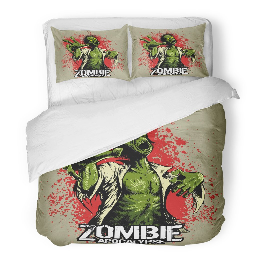 SanChic Duvet Cover Set Horror Comic Book Style Zombie Red Stains on Movies Cartoon Hands Decorative Bedding Set Pillow Sham Twin Size