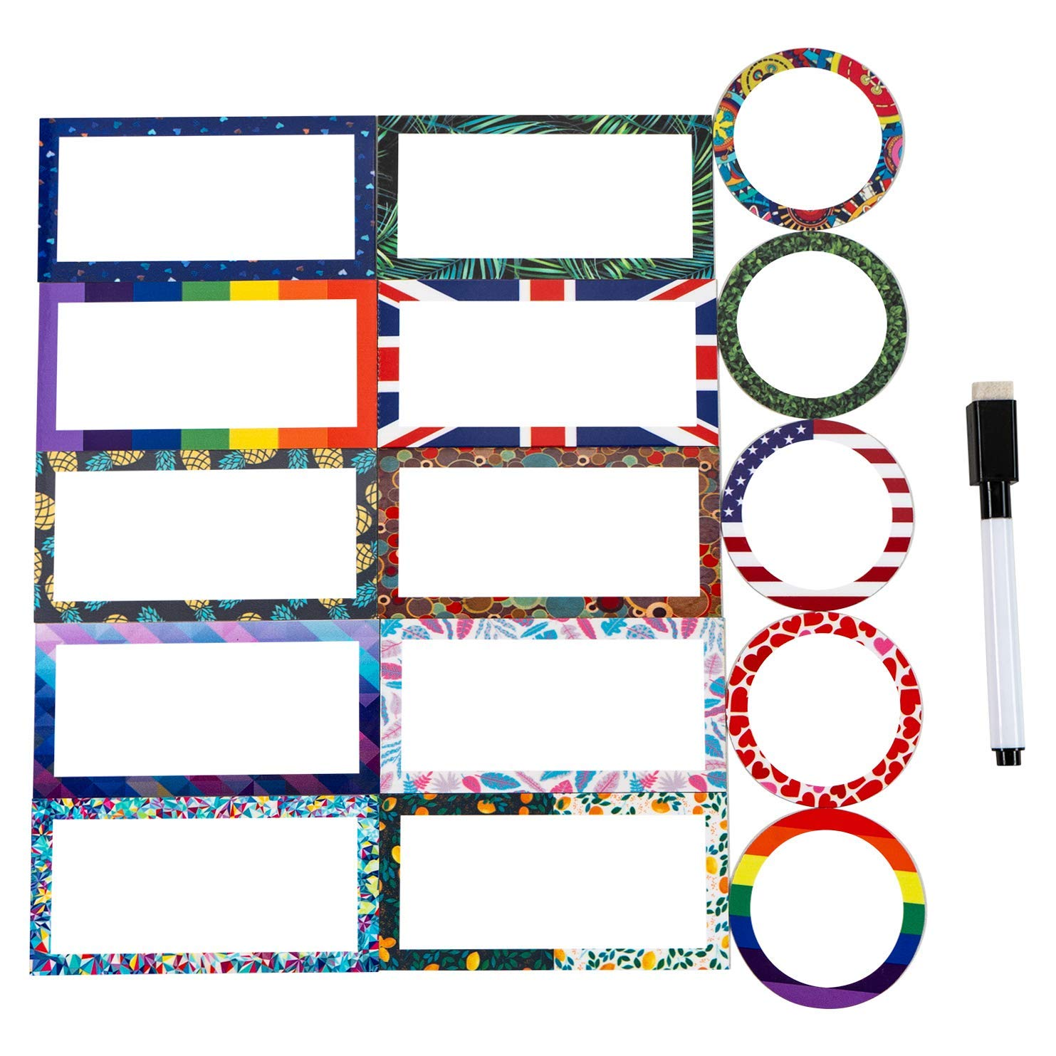 40 Magnetic Dry Erase Labels Name Plates - Set Accent Write On Whiteboard Magnets for Classrooms,Metal Shelving, Refrigerator, File Cabinets - Includes 1 Black Dry Erase Marker The Winners Time Products